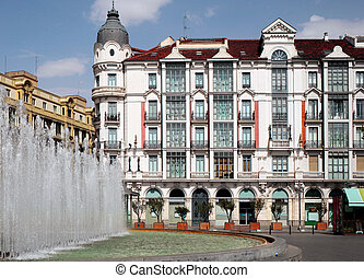 Cityscape in Valladolid - View of typical building in...
