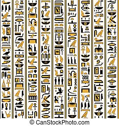 Egyptian hieroglyphs yellow-black color seamless.