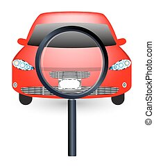 magnifying glass searching a car