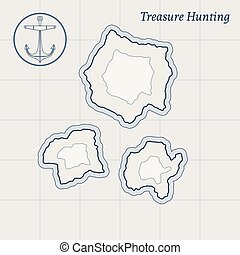 Vector Treasure Map Background - Treasure map with islands....