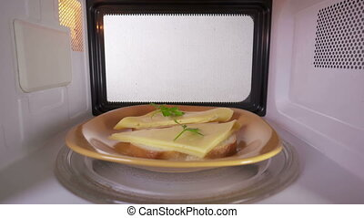 Making toasts with melted cheese in the microwave oven