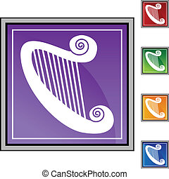 Harp web button isolated on a background