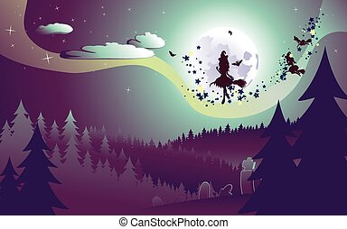 Flying Witch in the Woods - Halloween background with flying...