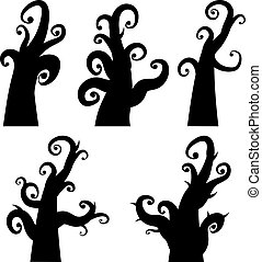 Crooked Spooky Trees - Black silhouettes of creepy halloween...