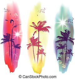Palm trees at sunset. - Palm trees silhouette at tropical...