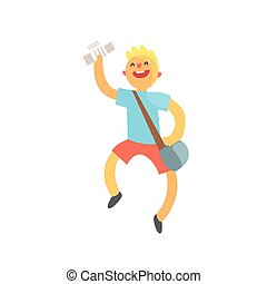 Kid Running With Handbag Full Of Newspapers Smiling. Graphic...