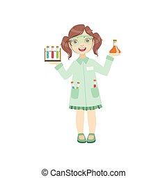 Girl Dressed As Chemist Holding Test Tubes. Child Dream...