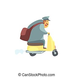 Chubby Postman On Small Scooter