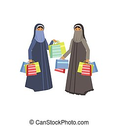 Two Women In Muslim Outfit In Shopping Mall. Bright Color...
