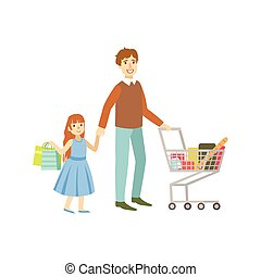 Father And Daughter Shopping Together