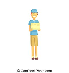 Delivery Worker In Blue T-shirt Holding Small Package