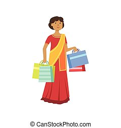 Woman In Indian Sari In Shopping Mall. Bright Color Cartoon...