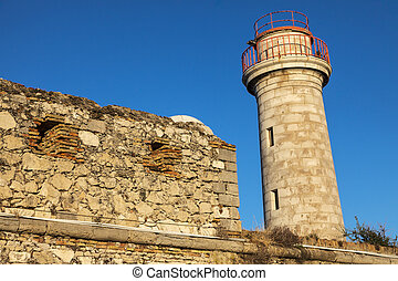 Lighthouse in Antibes. Antibes, Provence-Alpes-Cote d'Azur,...