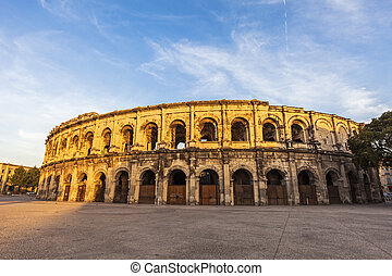 Arena of Nimes at sunset. Nimes, Occitanie, France.