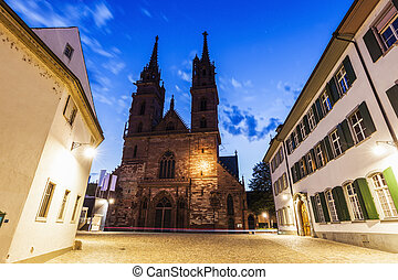 Basel Minster at night. Basel, Basel-Stadt, Switzerland.