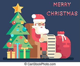 Christmas Santa Claus Tree Bell Gifts List New Year Icon...