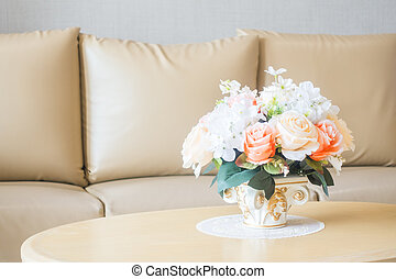 Flower vase on table decoration in living room area interior...