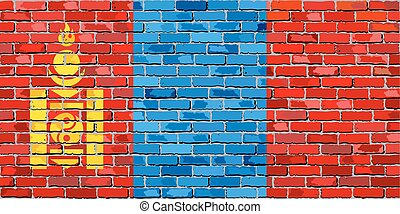 Flag of Mongolia on a brick wall