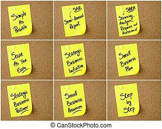 affär,  collage, anteckna, skriftligt, papper,  acronyms