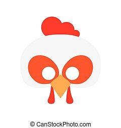 Cartoon rooster mask vector. cock carnival mask, vector...