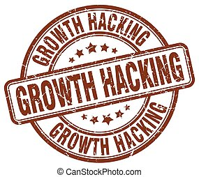 growth hacking brown grunge stamp