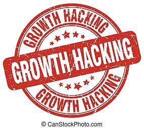 growth hacking red grunge stamp