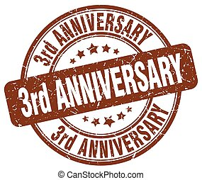 3rd anniversary brown grunge stamp