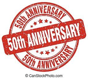 50th anniversary red grunge stamp