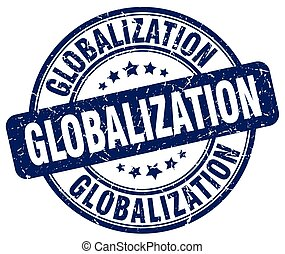 globalization blue grunge stamp