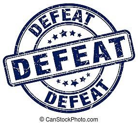 defeat blue grunge stamp
