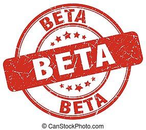 beta red grunge stamp