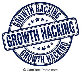 growth hacking blue grunge stamp