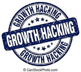 growth hacking blue grunge stamp