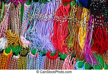 Colorfull woven items at local market.