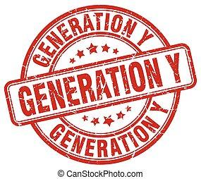 generation y red grunge stamp