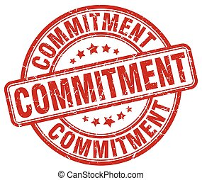 commitment red grunge stamp