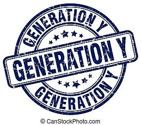 generation y blue grunge stamp