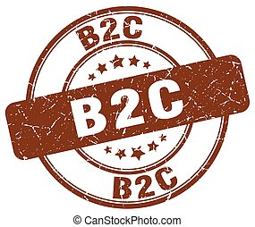 b2c brown grunge stamp