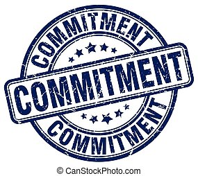 commitment blue grunge stamp