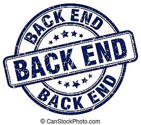back end blue grunge stamp