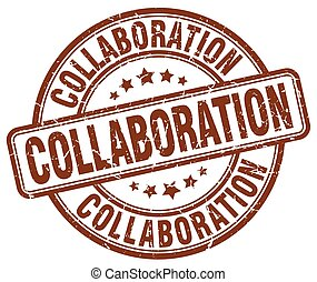 collaboration brown grunge stamp