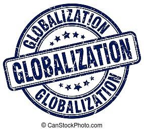 globalization blue grunge stamp