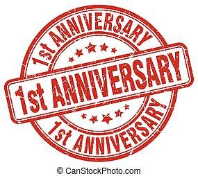 1st anniversary red grunge stamp