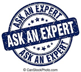 ask an expert blue grunge stamp