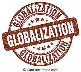 globalization brown grunge stamp