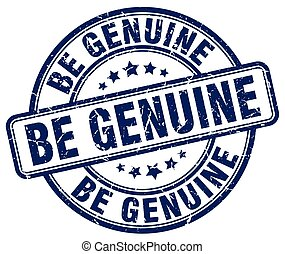 be genuine blue grunge stamp