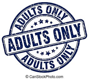 adults only blue grunge stamp