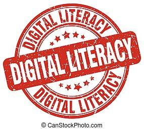 digital literacy red grunge stamp
