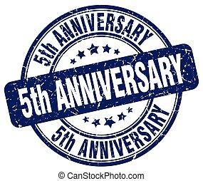5th anniversary blue grunge stamp