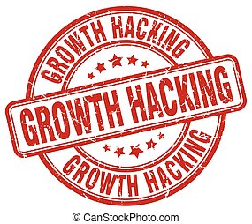 growth hacking red grunge stamp